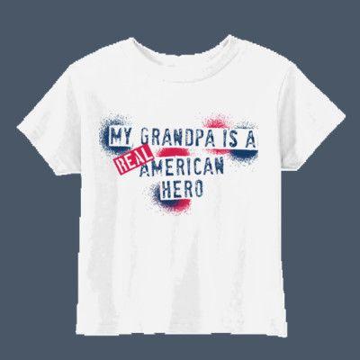 My Grandpa Is A Real American Hero Cute Tshirt For Kids With Military Grandfathers Cute Tshirts T Shirt Custom Tees