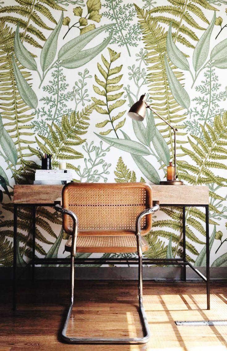 Self Adhesive Mural Wallpaper Etsy Green Home Decor Fern Wallpaper Home Wallpaper
