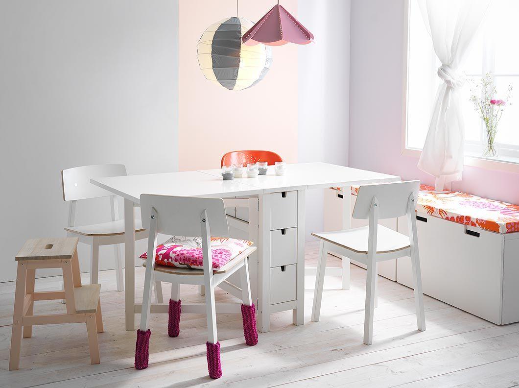 Mesa de comedor extensible norden de abedul macizo para 8 for Sillas blancas comedor