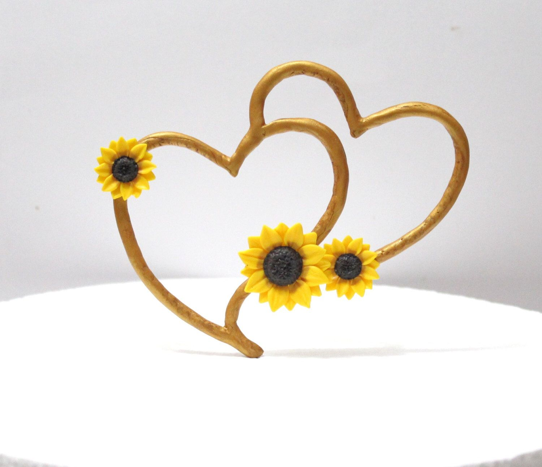 Cake topper sunflower rustic heart cake topper rustic