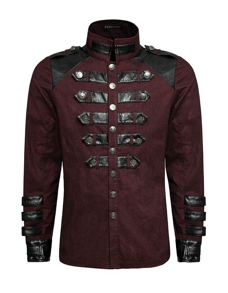 Dunkelrotes Gothic Military Langarm Hemd Dragonheart, 97