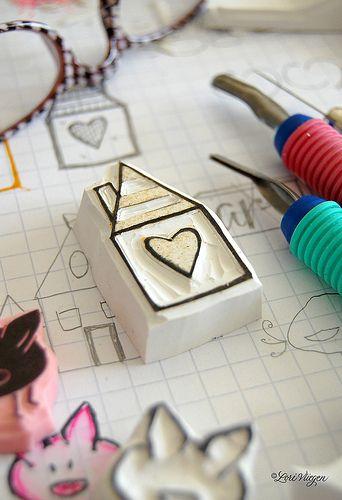 Heart House Stamp Carving Eraser Stamp Handmade Stamps