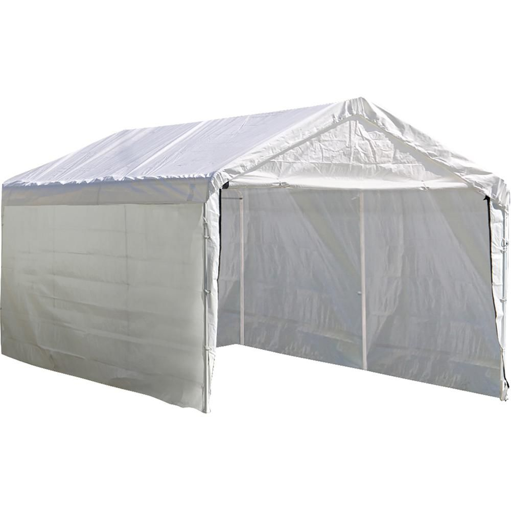 Shelterlogic 12 Ft W X 20 Ft D Enclosure Kit For Supermax Canopy In White W 100 Waterproof Seams Canopy And Frame Not Included 25774 In 2020 White Canopy Canopy Canopy Frame