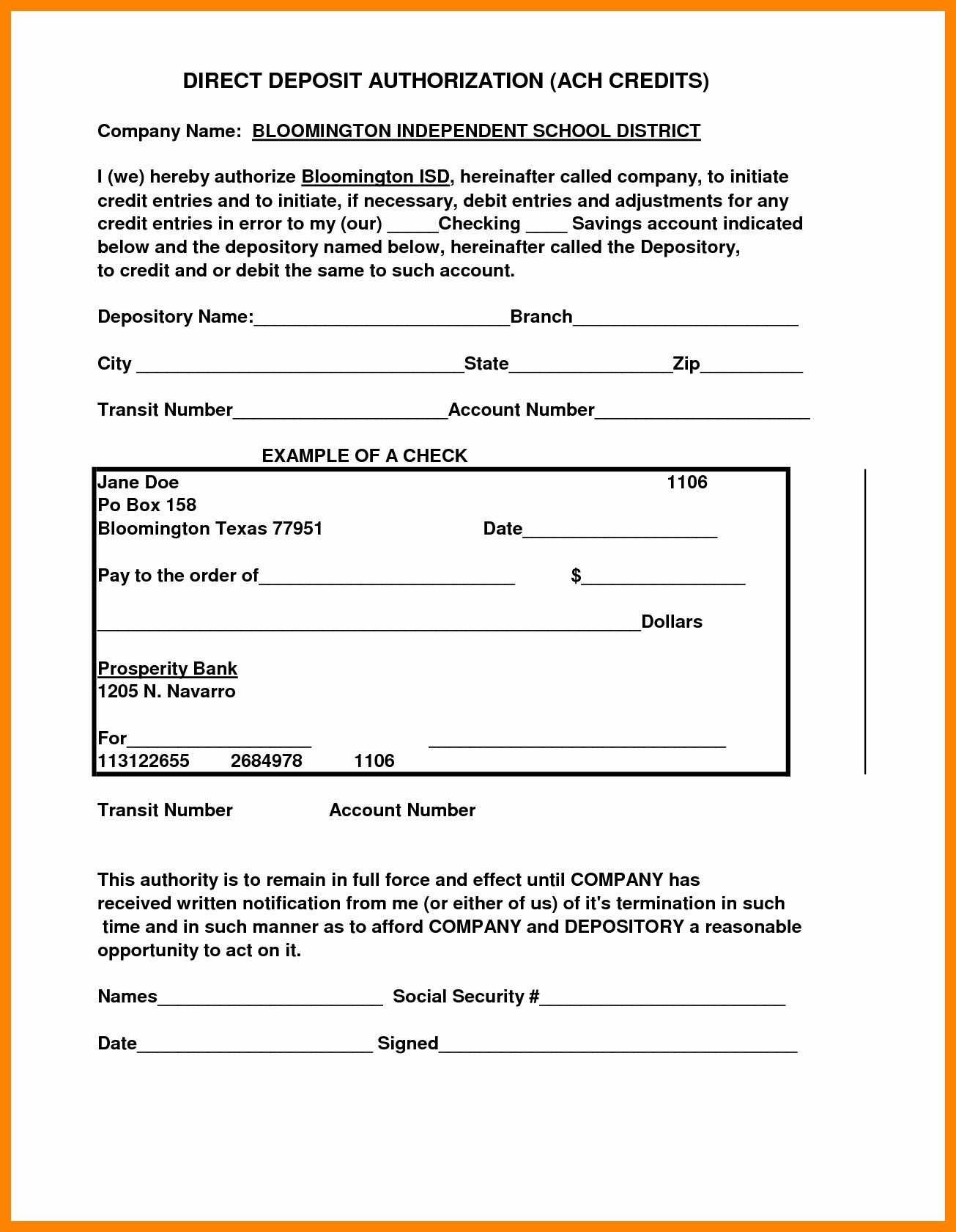 Get Our Image Of Payroll Direct Deposit Authorization Form Template For Free Deposit Templates Directions