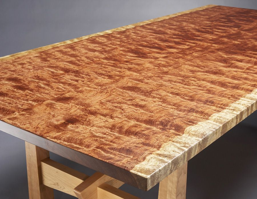 The Base Of This Grand Dining Table Is Constructed With Solid Cherry And Ebony Accents The Top Of The Pi Slab Dining Room Table Natural Wood Furniture Bubinga