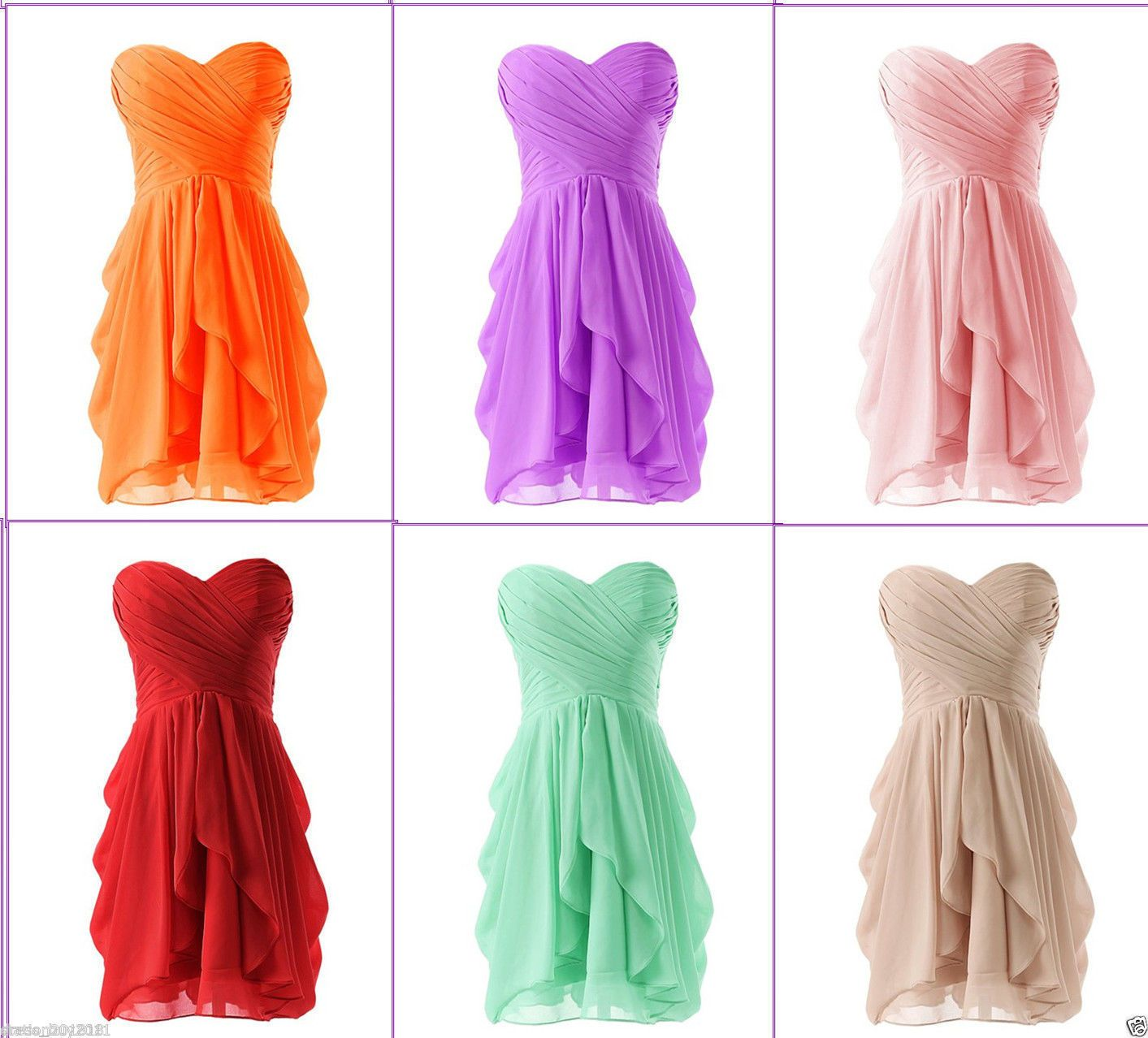 Nice amazing short new chiffon formal cocktail bridesmaid prom dress