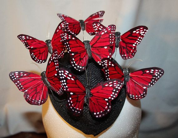 ea38036fffc20 Red Feather Butterfly Fascinator Hat Homage to by FabHatters, $40.00 ...