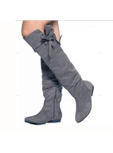 5c7ed245c8ce Buy Comfortable Flat Heel Coppy Leather Knee High Boots with Bowtie  Decoration From Shoespie.com.This Knee High Boots Only USD  119.69   Free  Shipping!