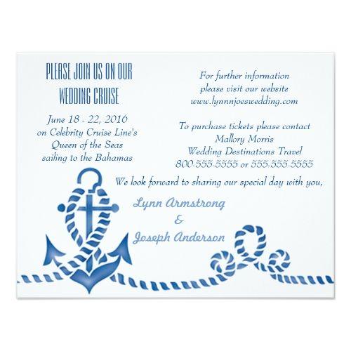 Nautical Anchor Cruise Ship Wedding Invitation Zazzle Com