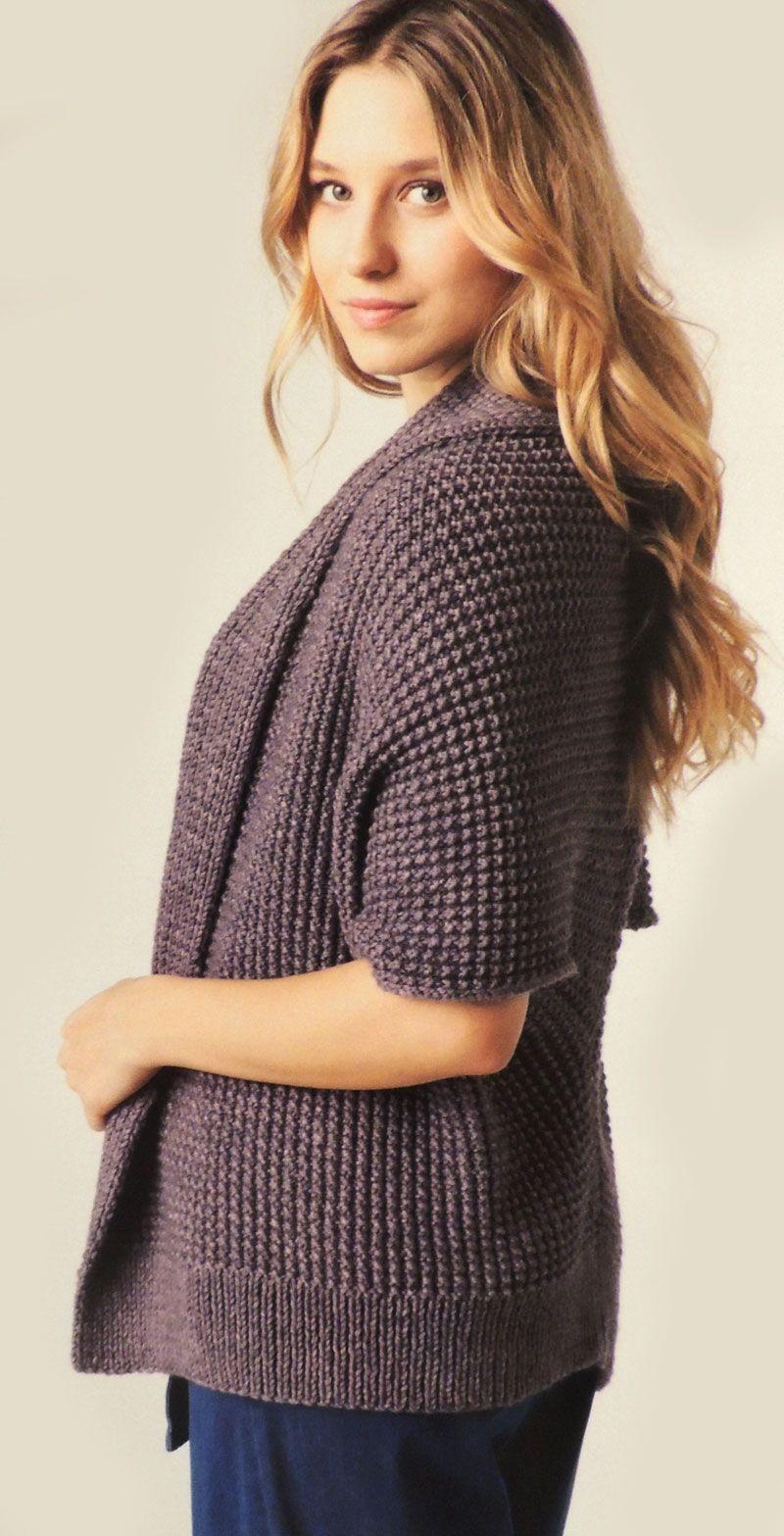 Patron para Tejer un Sweater Mangas Cortas en una sola pieza (3 ...