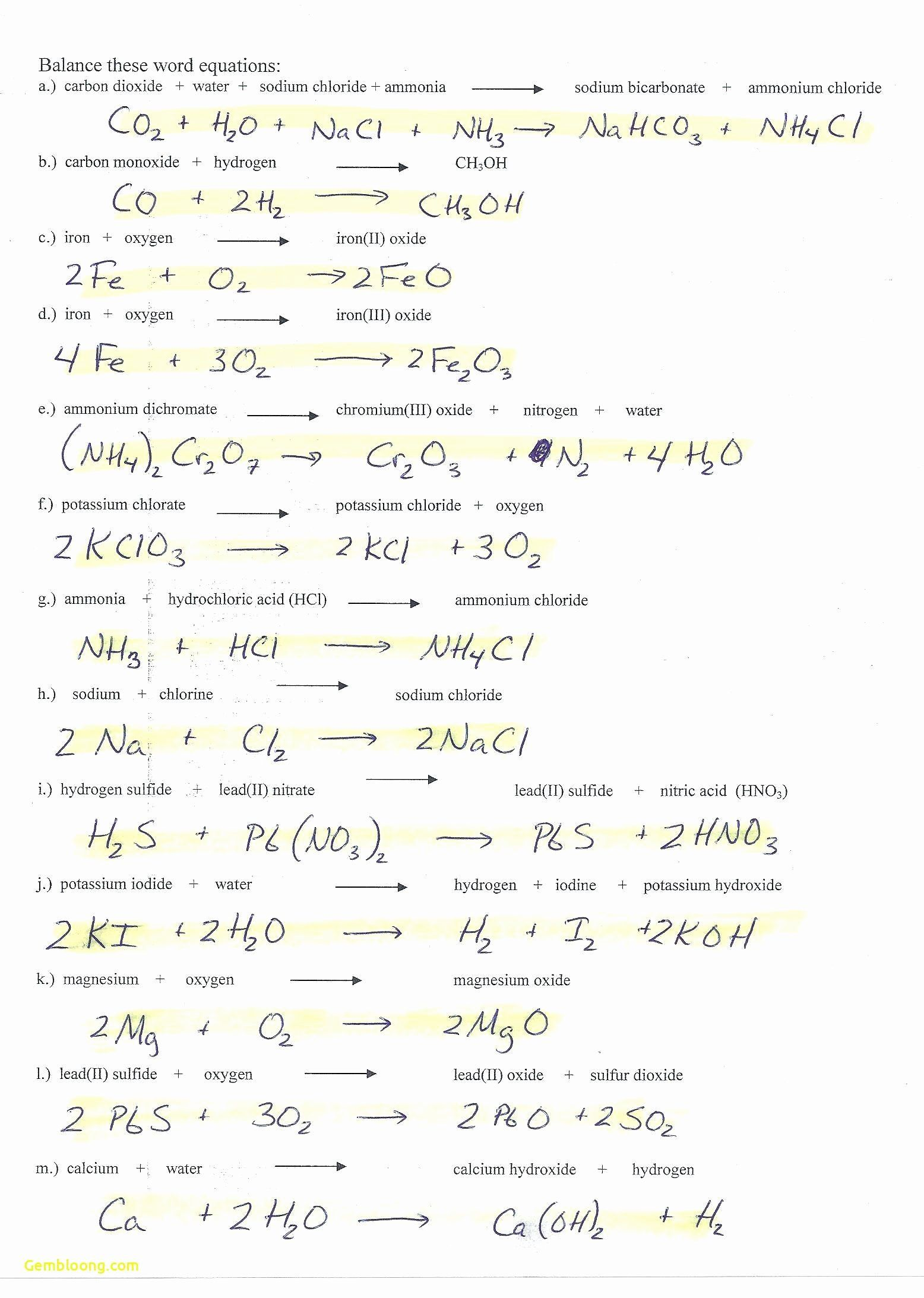 Limiting Reactant Worksheet Answers Beautiful Limiting