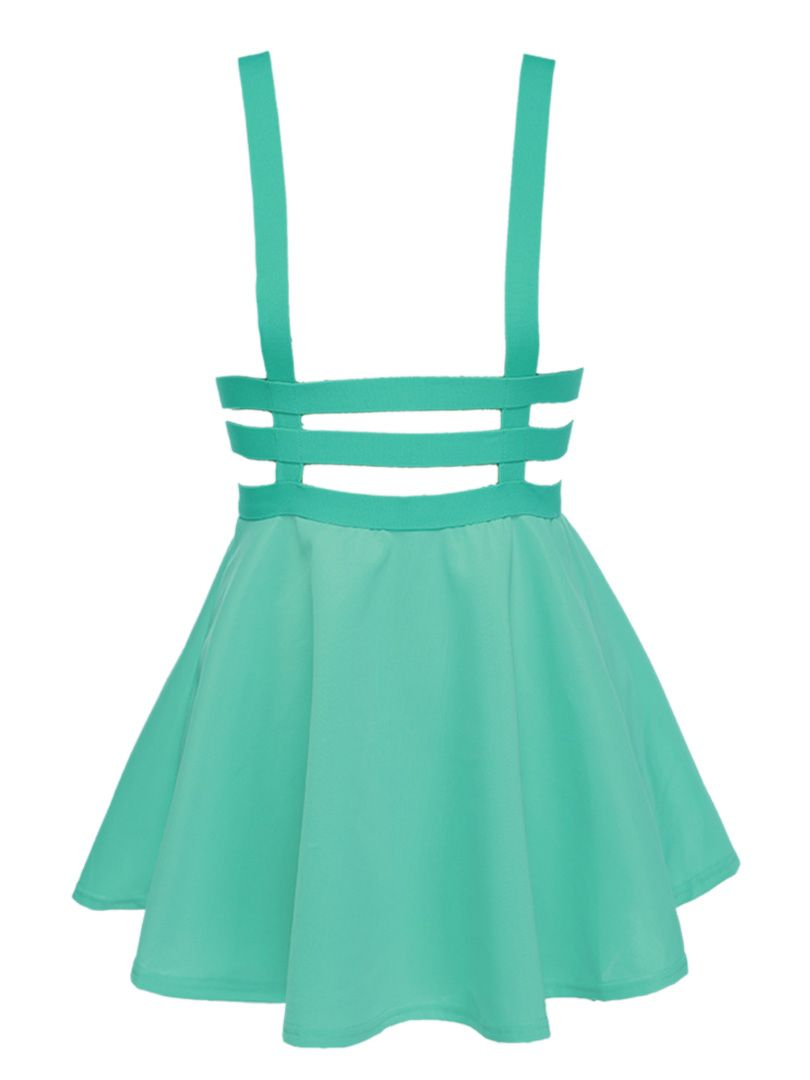 4aa82bd5cbb Green Lattice Cut Out High Waisted Shoulder-straps Overall Skirt ...