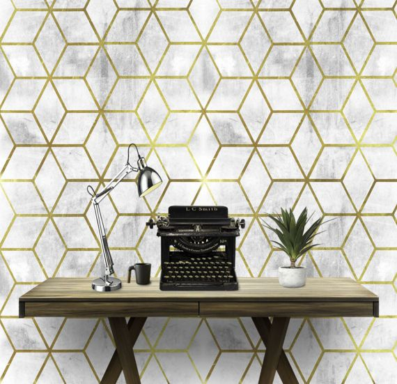 Gold Geo Cement Wall Covering Art Removable Self Adhesive