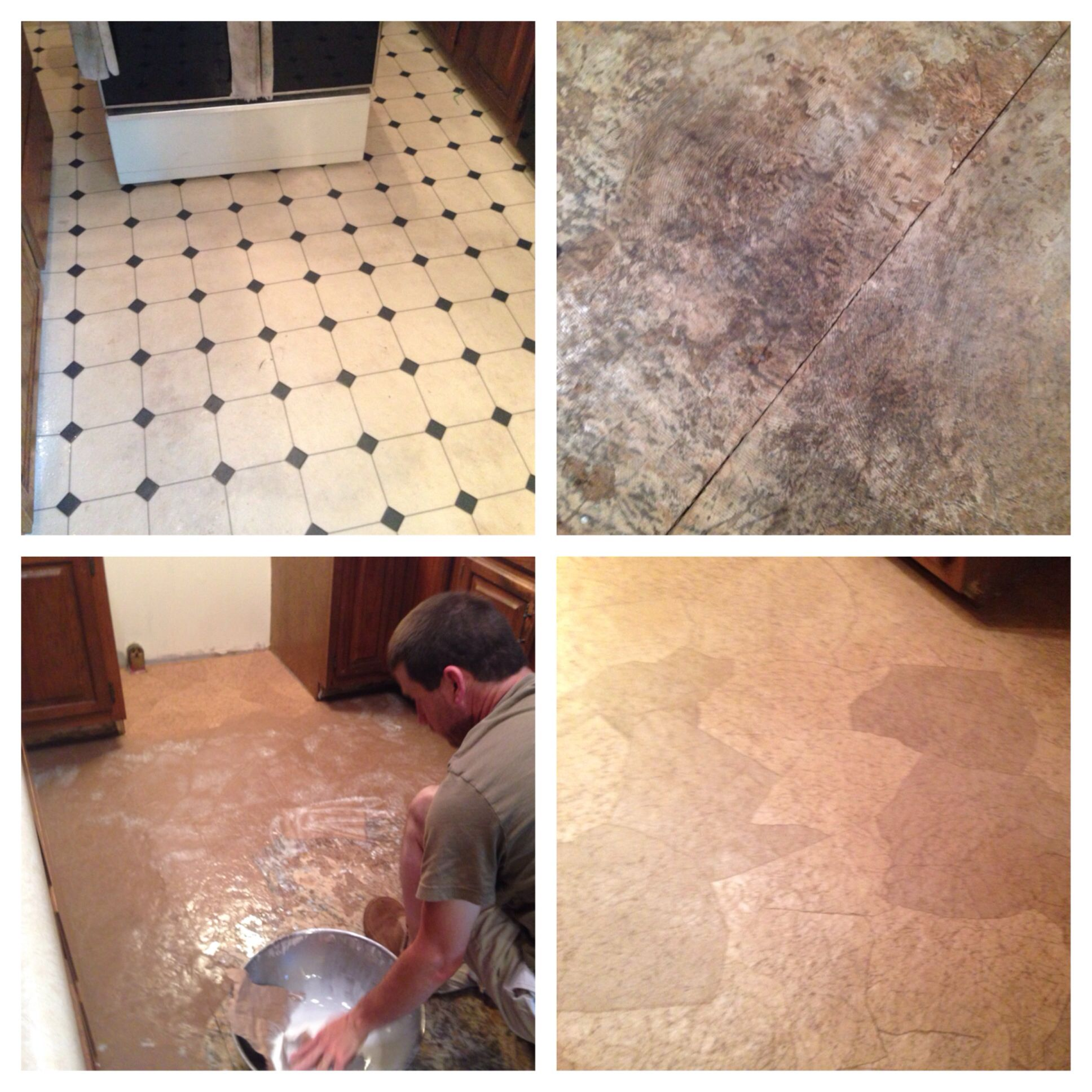 Replacing Our Kitchen Linoleum With Brown Paper Flooring