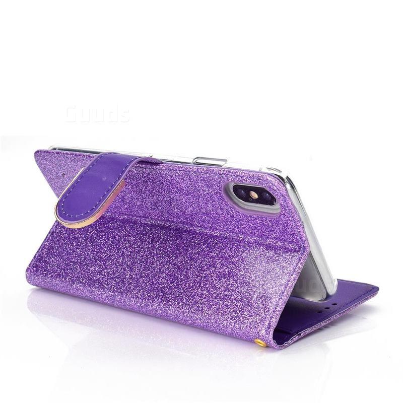 Glitter diamond buckle splice mirror leather wallet phone