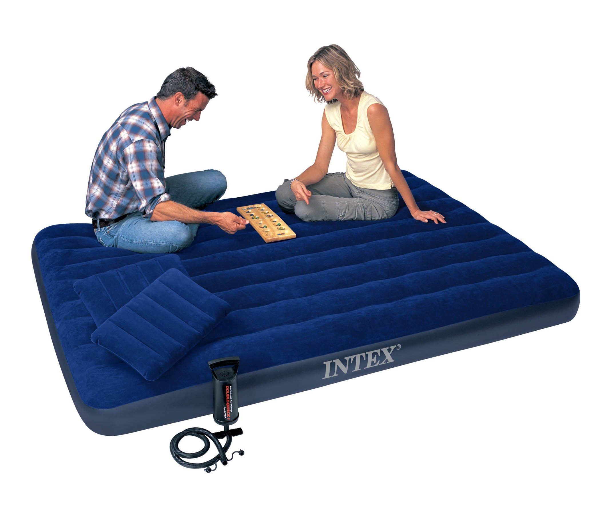 Amazon Com Intex Classic Downy Airbed Set With 2 Pillows And Double Quick Hand Pump Queen Camping Air Air Mattress Camping Air Bed Camping Queen Mattress
