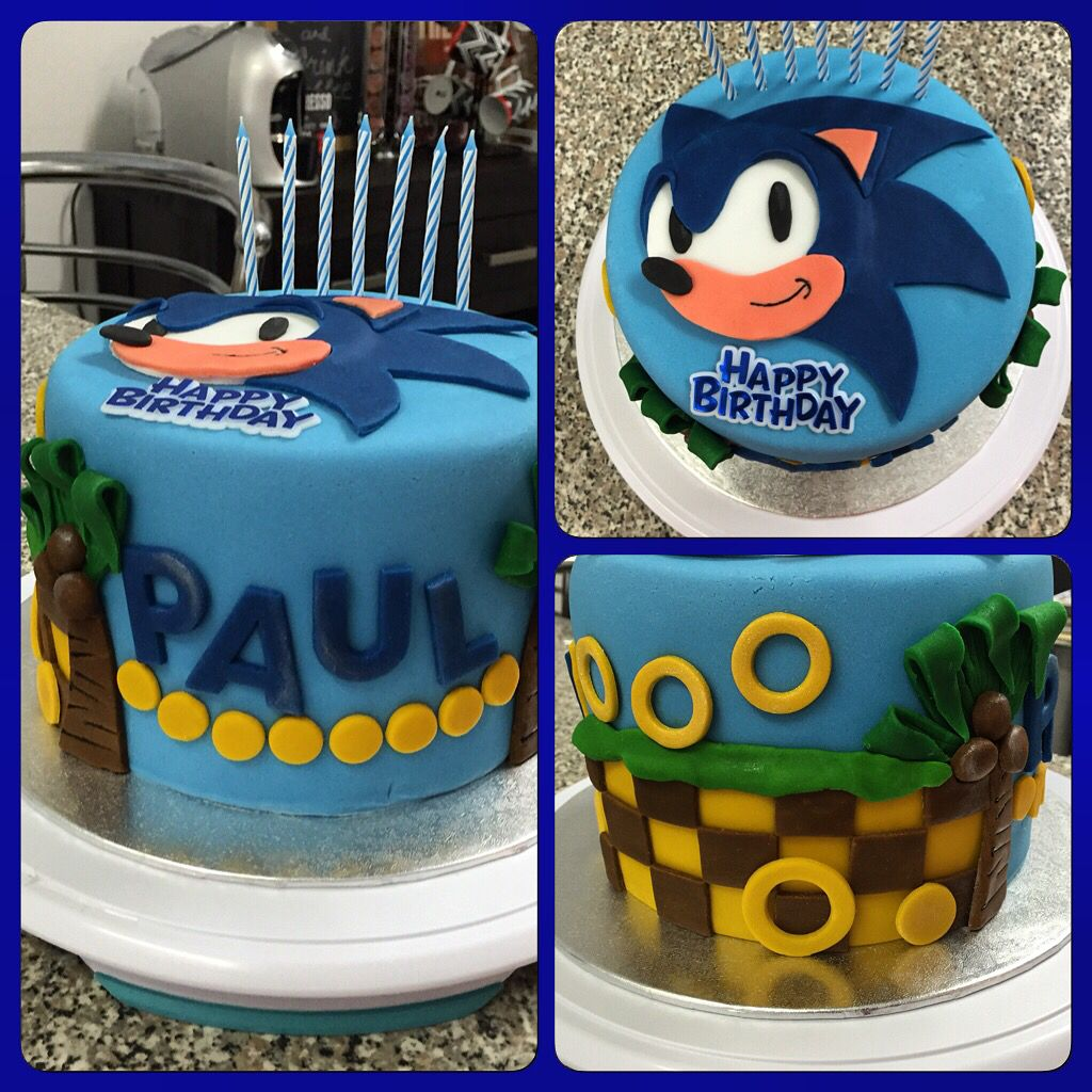 Sonic Hedgehog Themed Cake Chocolate Cake With Oreo Buttercream Filling Sonic Birthday Cake Sonic Birthday Sonic Cake