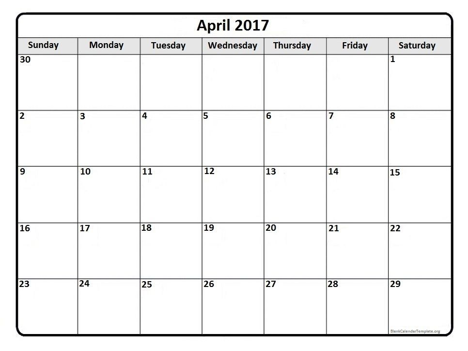 April  Monthly Calendar Template  Printable Calendars