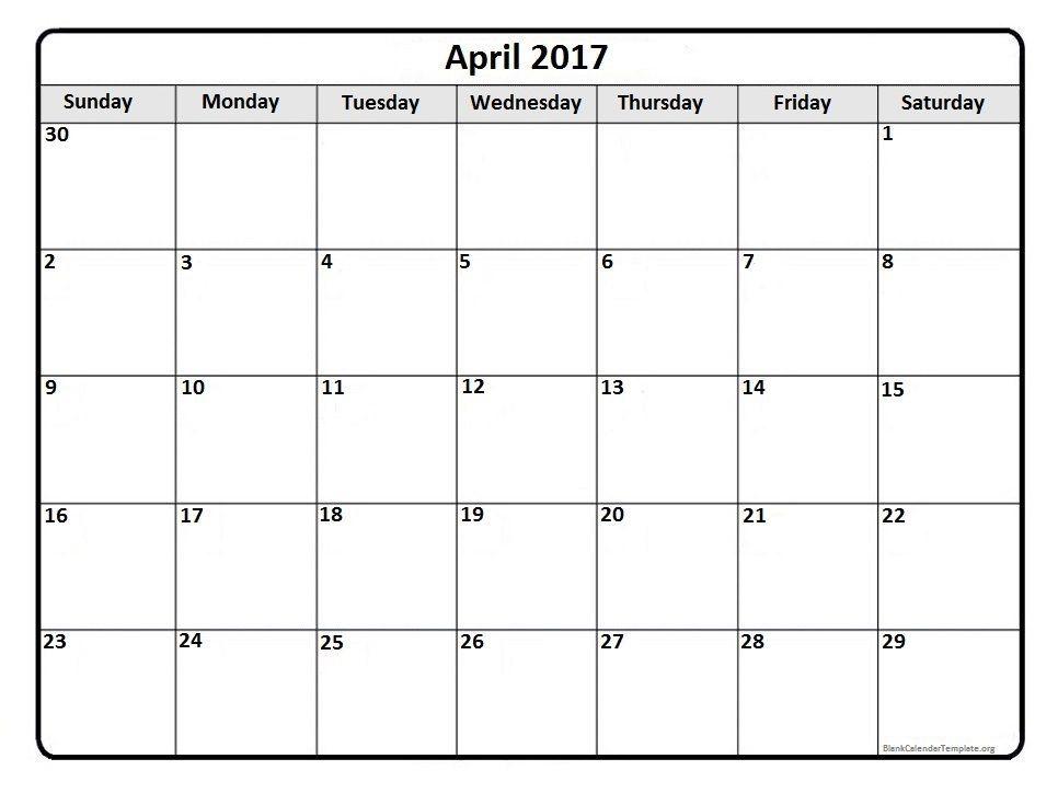 april 2017 monthly calendar template printable calendars pinterest