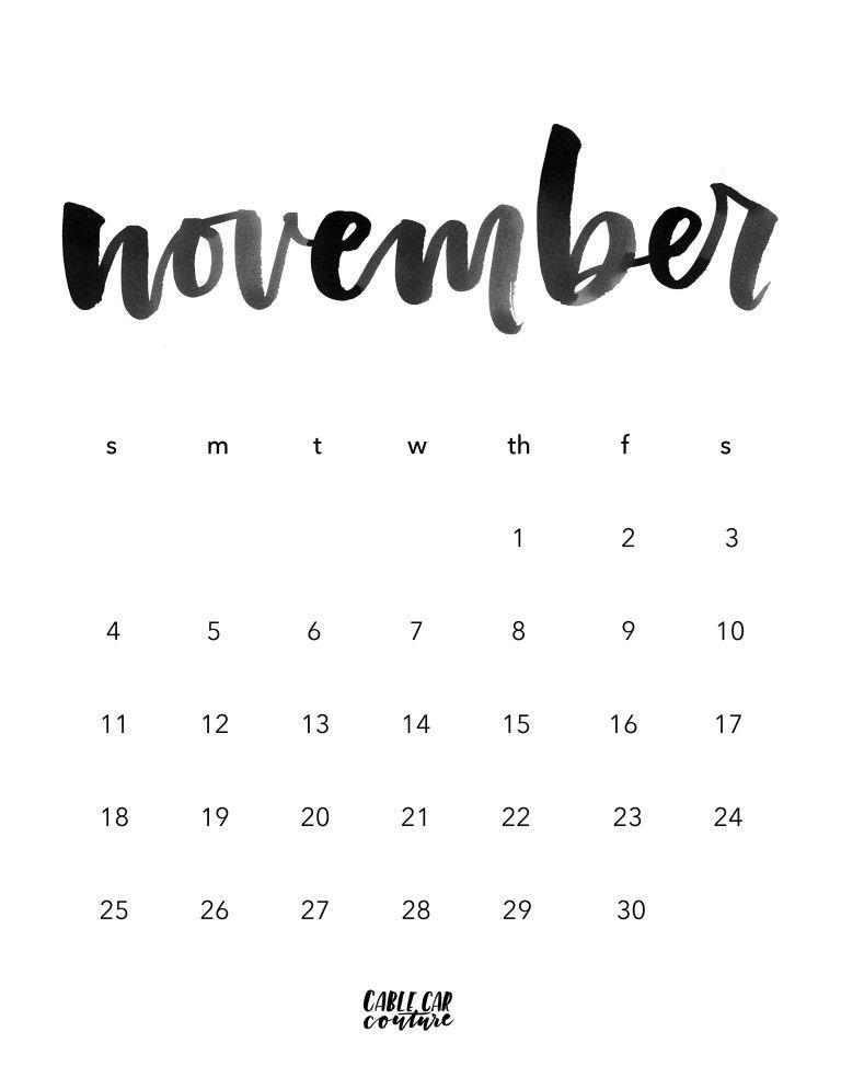 November 2016 Calendar Calligraphy Calendar Calendar September
