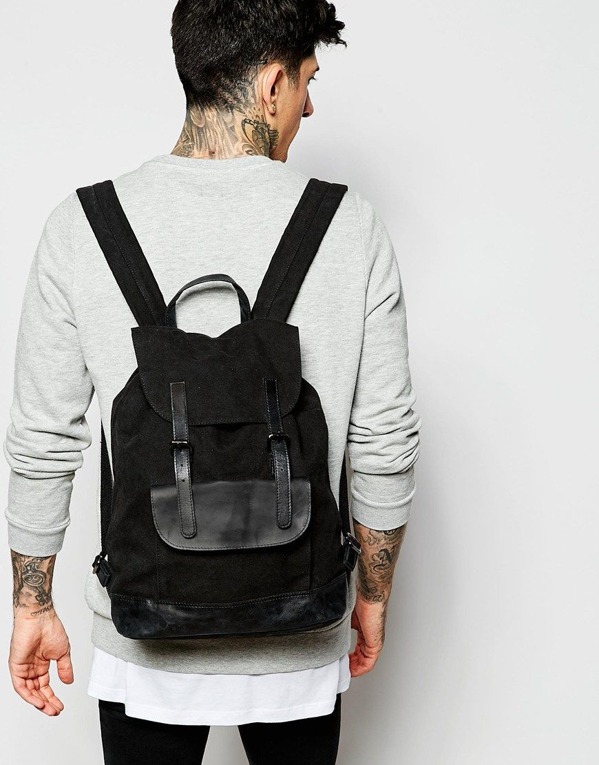 Image 3 of ASOS Backpack In Black Canvas With Leather Trims