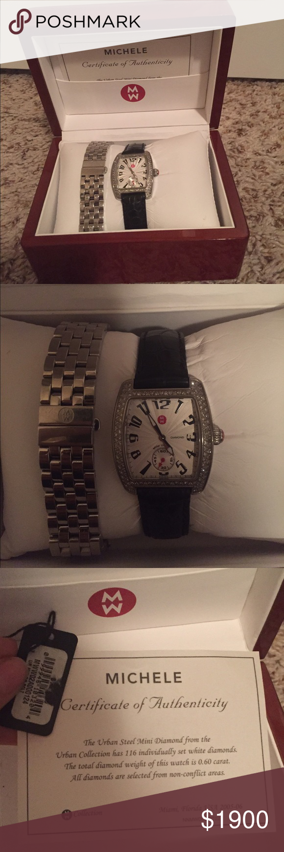 ⚡️Flash Sale⚡️Michele Mini Urban Diamond Watch Sparkling diamonds detail the barrel-shaped case&silver-white guilloche dial of the Urban Mini Diamond watch. Comes with the black alligator strap&stainless steel 5-link strap. Comes with box, authenticity card & tag. No scratches on watch face, some slight scratches on the stainless steel strap but it's hardly noticeable. TV:$2,000▪️Case Size-29mmx31 mm▪️Dial-Silver White Guilloche W/Diamonds ▪️Strap Size -16mm▪️Crystal Type -Sapphire ▪️Total…