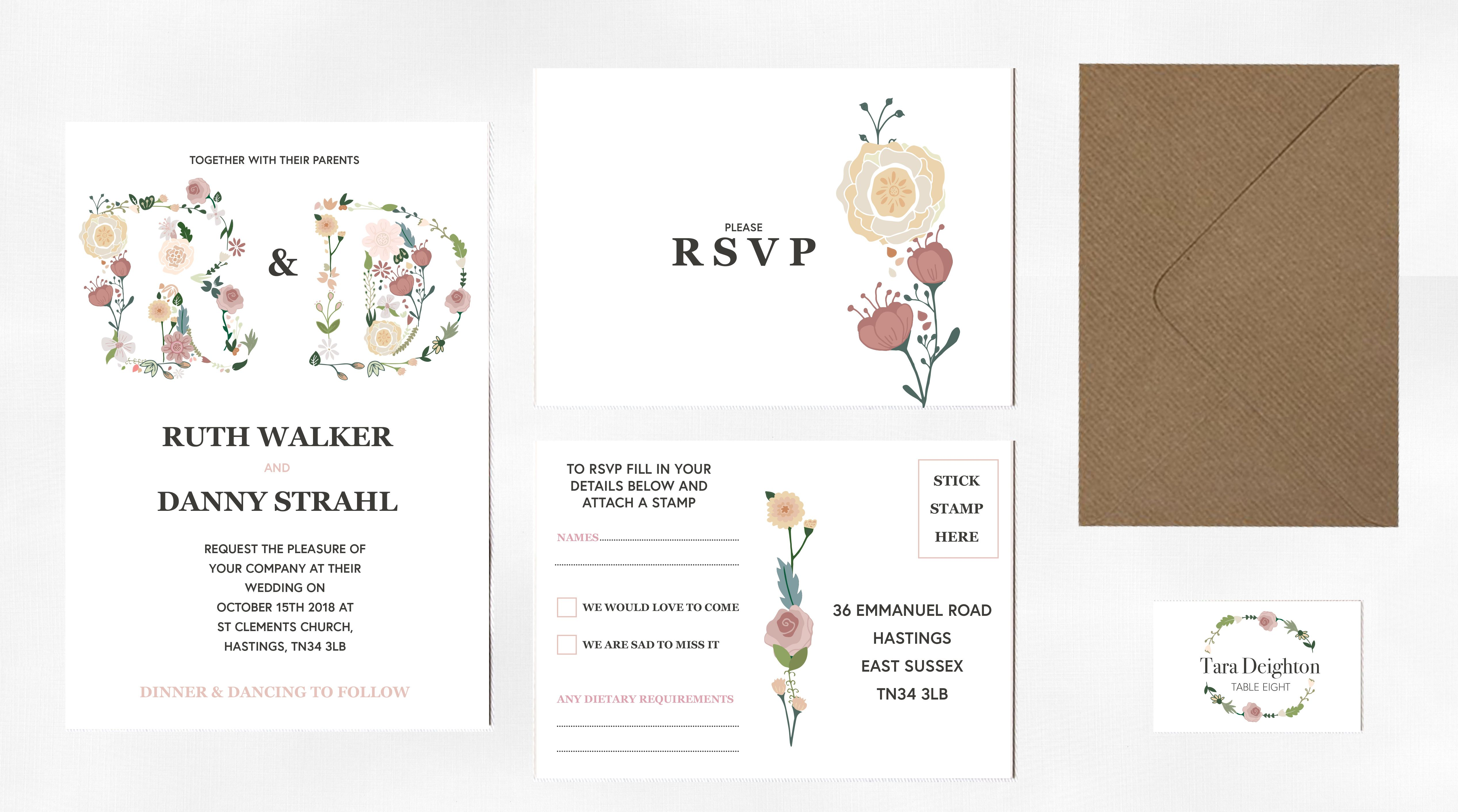 Wedding decorations names october 2018 Meadow Lights Wedding Stationery  Flower typography Wedding and
