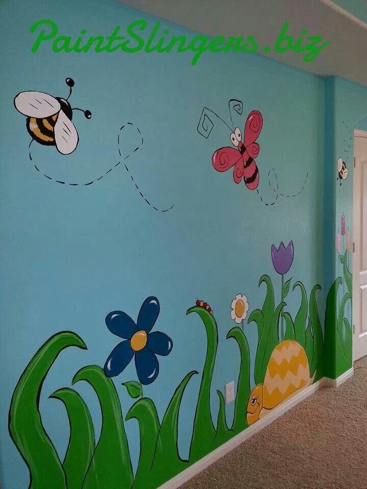 Kids room mural bugs butterflies turtles flowers Mural of flowers