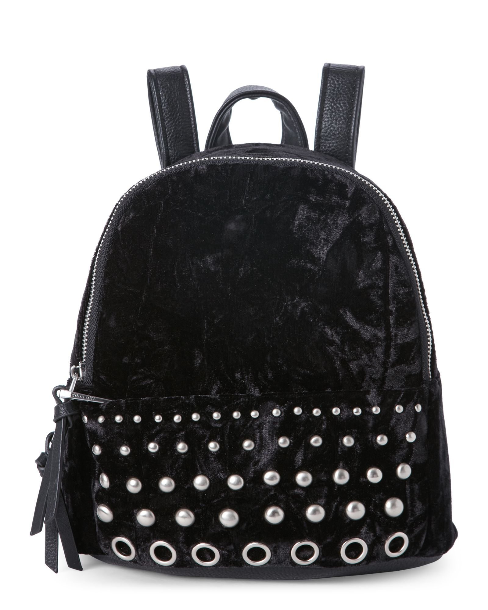 9e610341094f Madden Girl Black Kore Studded Crushed Velvet Mini Backpack ...