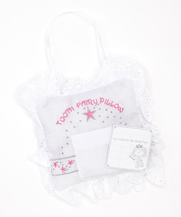 Look what I found on #zulily! Stephan Baby White & Pink Eyelet Tooth Fairy Pillow by Stephan Baby #zulilyfinds