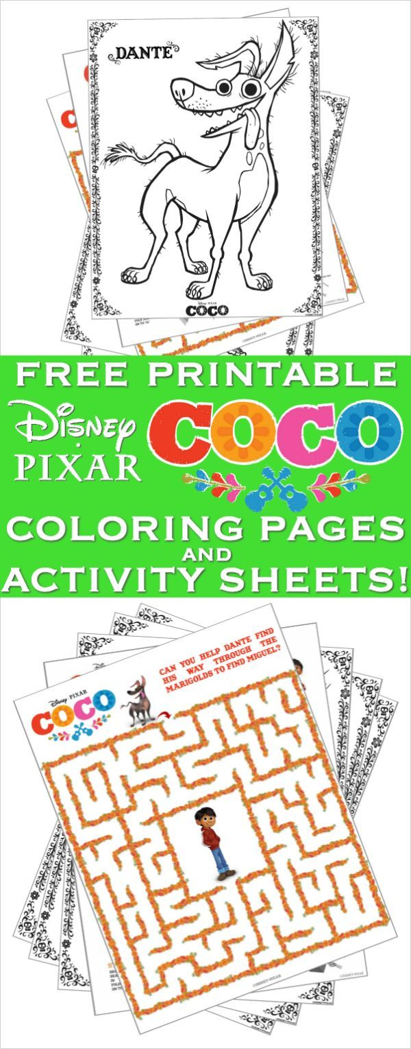 New disneypixarus coco coloring pages and activity sheets