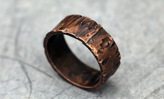 Custom Rugged Copper Ring Band for Men / Women, Wood Grain Finish, Choose Your Width, Copper Wedding Band, Alternative, Promise Ring on Etsy, $50.00