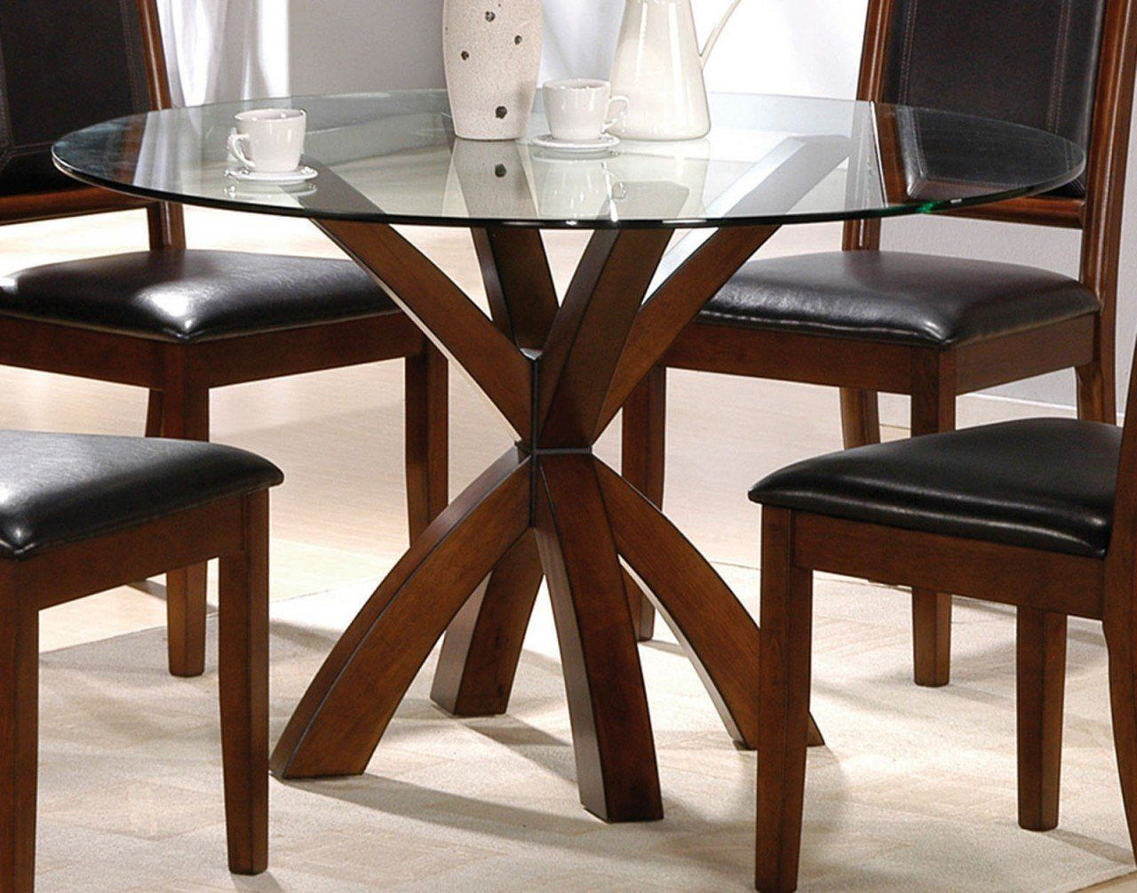 Dining room simple round glass top tables with wood base for Simple dining room table decor