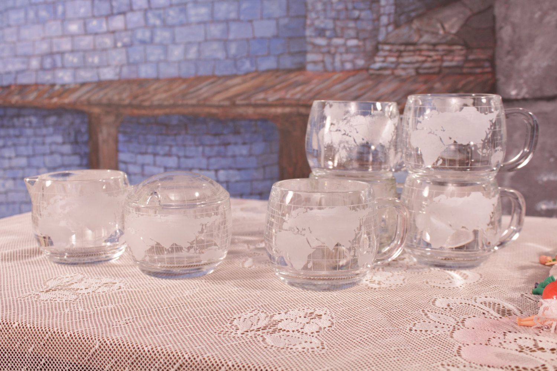 Nestle Glass Globe 5 Coffee Tea Cups Cream Sugar Set