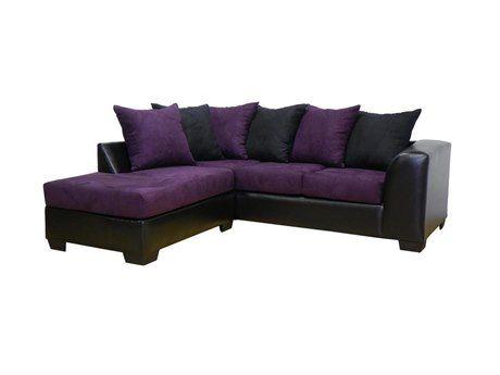 Chelsea Home Furniture Bulldozer Eggplant U0026 Bicast Black Patty 2 Piece Sectional  Sofa | CE23317SECBE