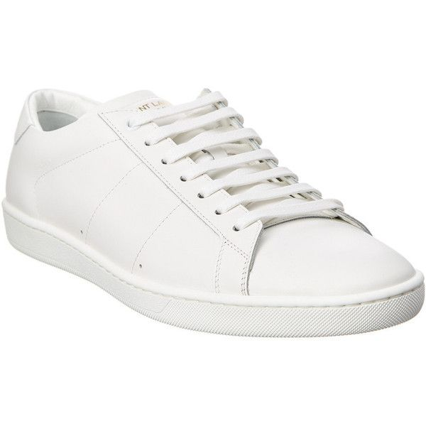 06695136854 Saint Laurent Signature Court Classic Leather Sneaker ($240) ❤ liked on  Polyvore featuring men's