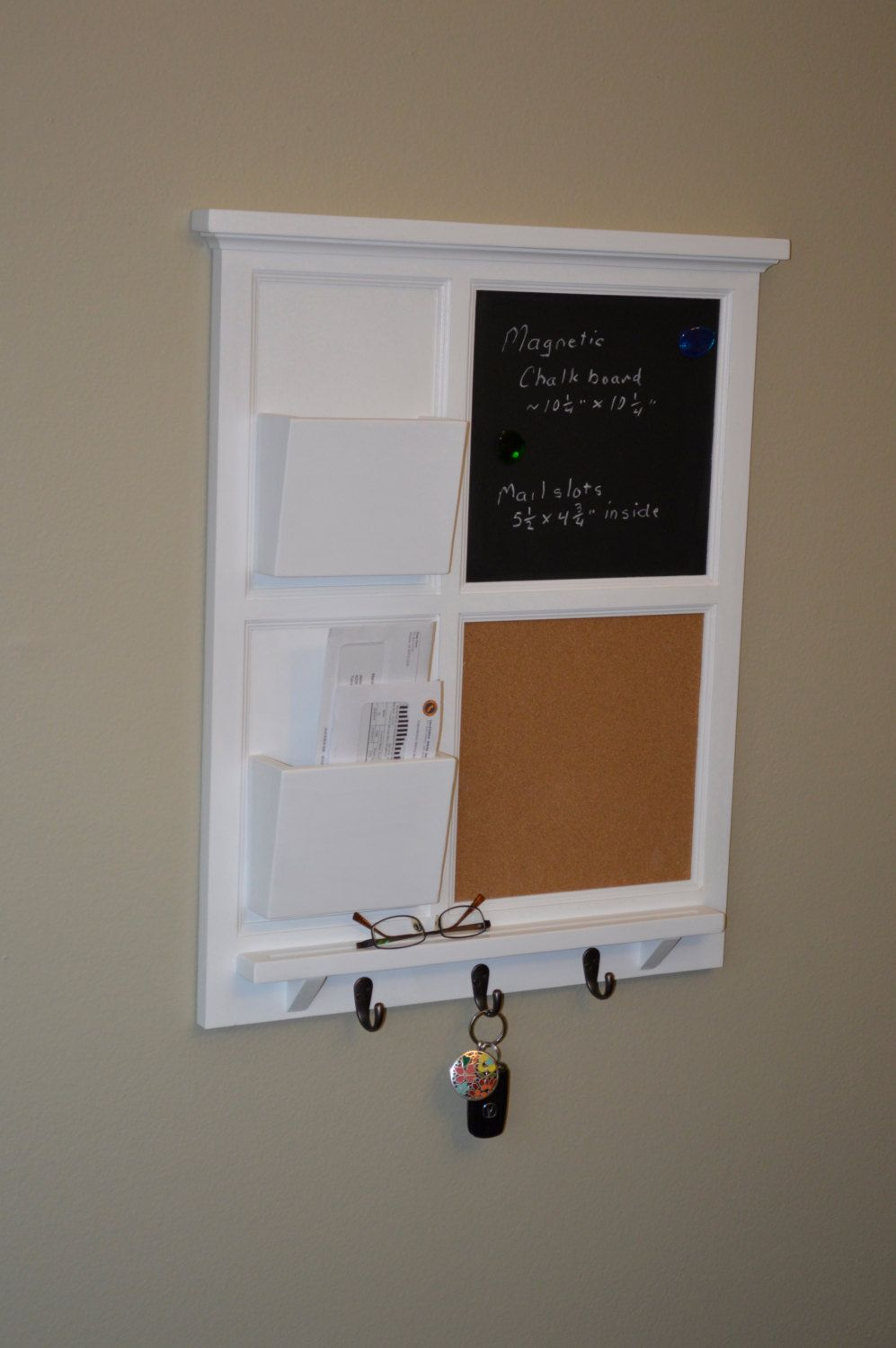 Magnetic Chalkboard Cork Board With Two Mail Organizer Letter