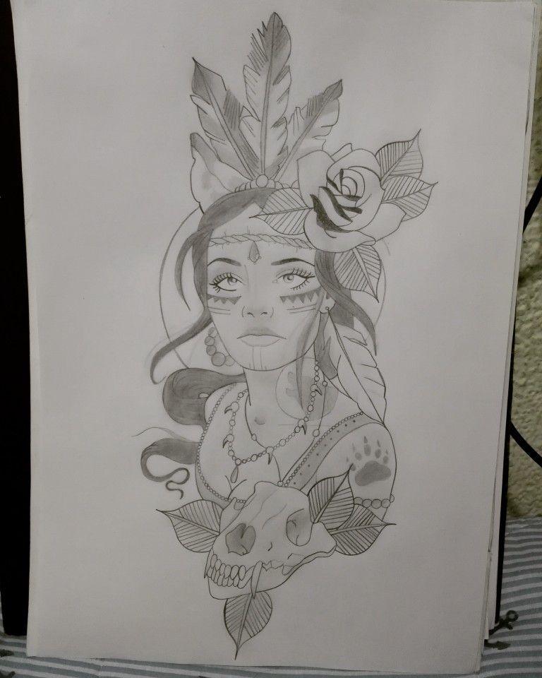 Mujer Dibujo A Lapiz Rosas Plumas Art Humanoid Sketch Draw
