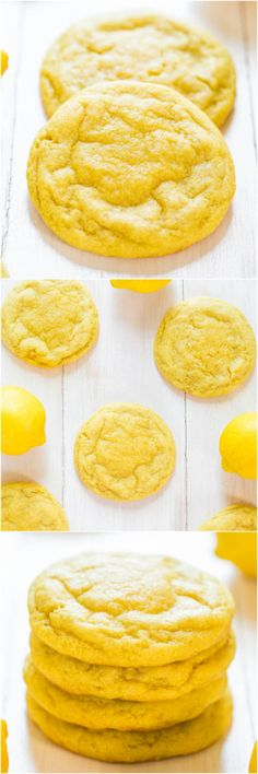 Soft and Chewy Lemon Cookies - Packed with big, bold lemon flavor for all you lemon lovers! They're soft, chewy and not at all cakey!! Perfect summer party cookie! #FourthofJuly #LaborDay