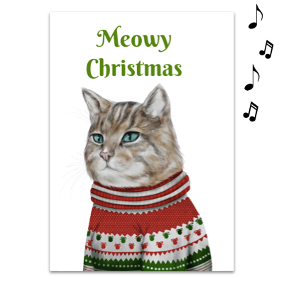 Joker Greeting Meowy Christmas Musical Greeting Cards Funny Greeting Cards