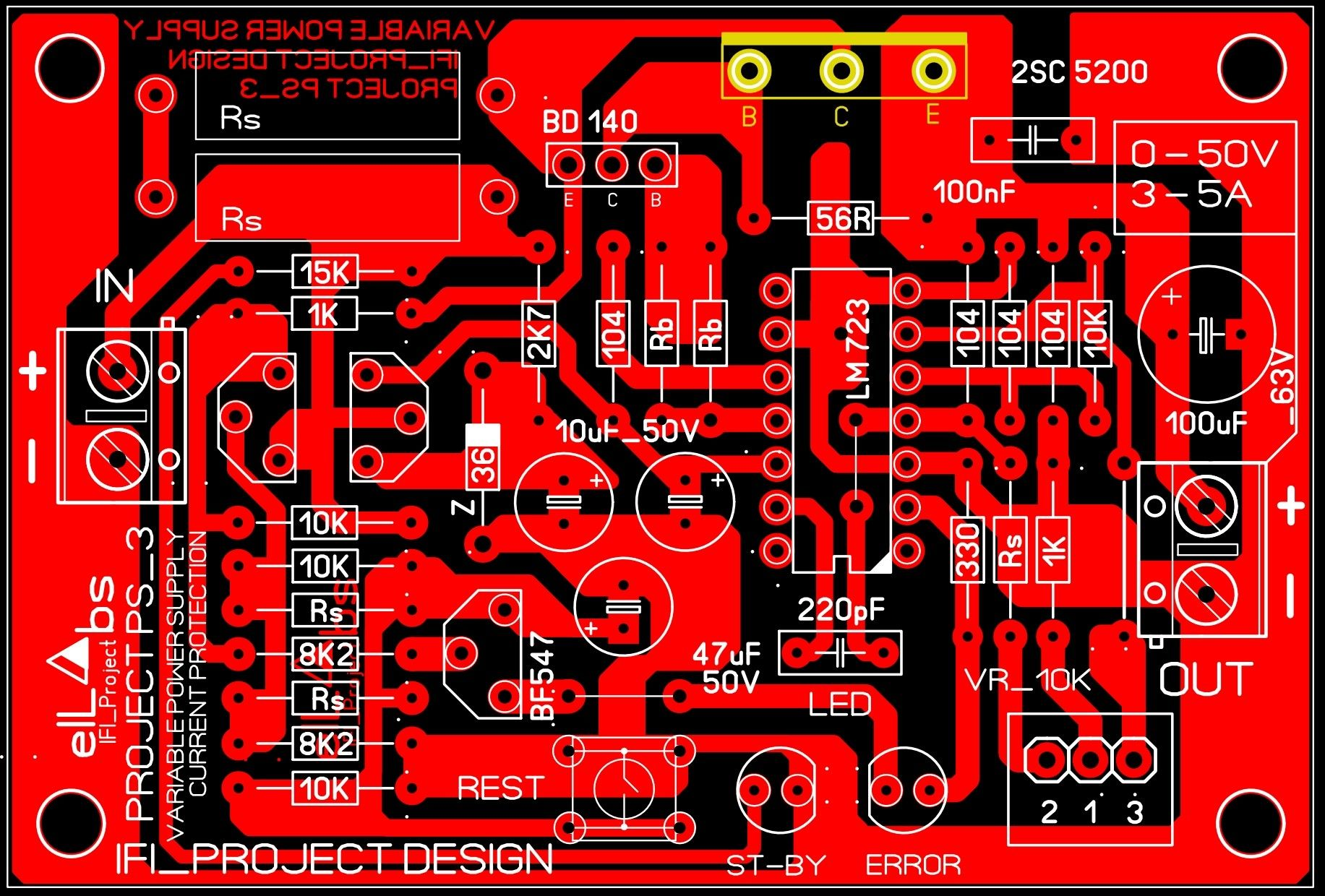 Project V 03 Variable Bench Power Supply 0 50v 2 5a Current Protection Power Supply Power Circuit Diagram