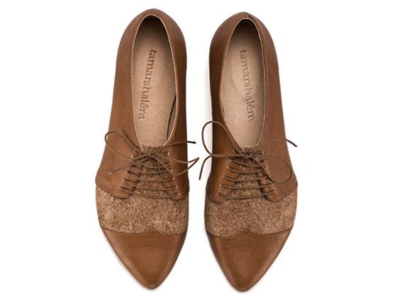 "Work Shoe | Women's Oxford Flats | Lace-Up | Coffee Brown | ""Polly Janes"" 