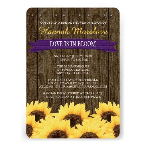 Purple rustic sunflower bridal shower invitation | Pinterest ...