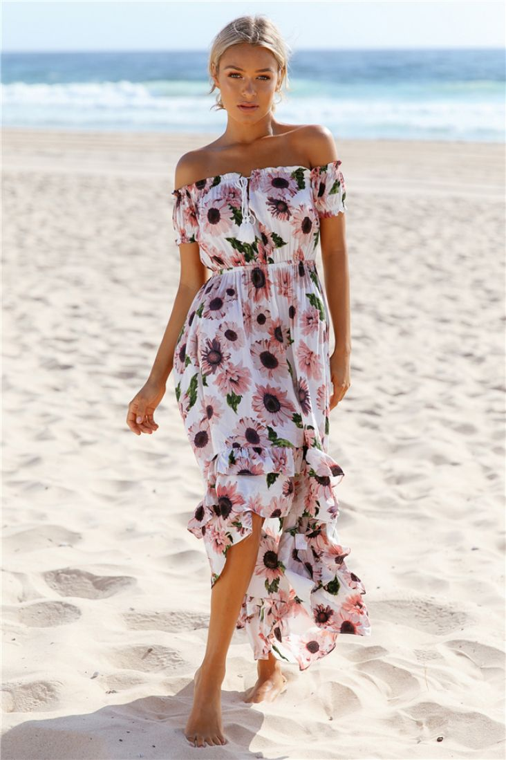The love like this maxi dress has a trendy off the shoulder neckline