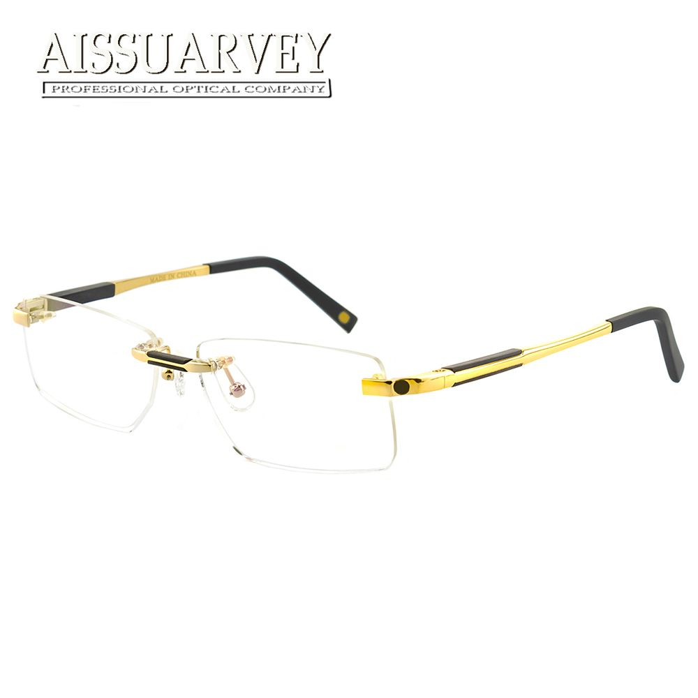 b3e2c175b1 Rimless Eyeglasses Men Fashion Brand Designer Glasses Frames Prescription  Eyewear Optical Luxury Business Goggles Spring Leg New.