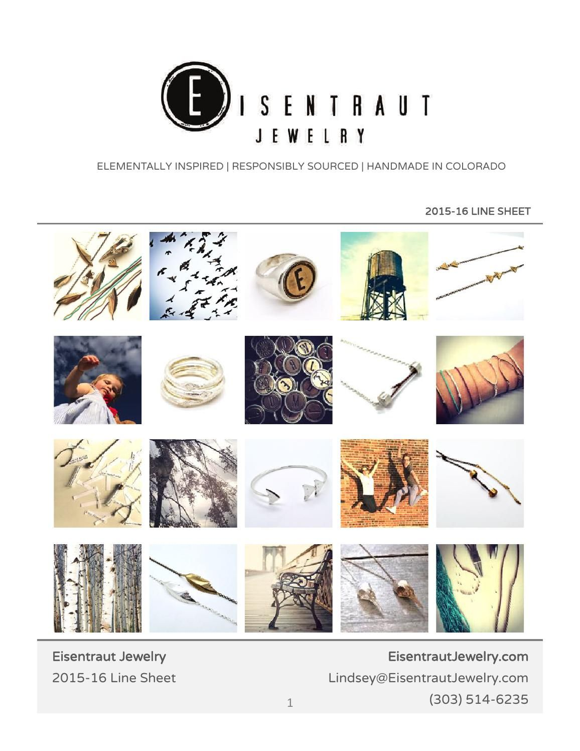 Eisentraut Jewelry Line Sheet 2015-16 | Catalog