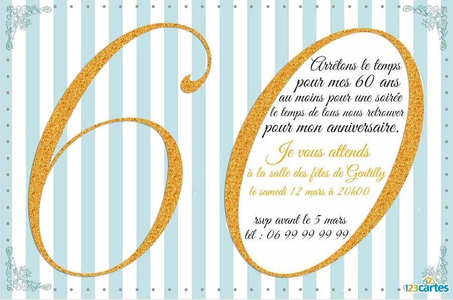 Invitation anniversaire 60 ans avec effet pailleté or | Invitation anniversaire 60 ans, 60 ans ...