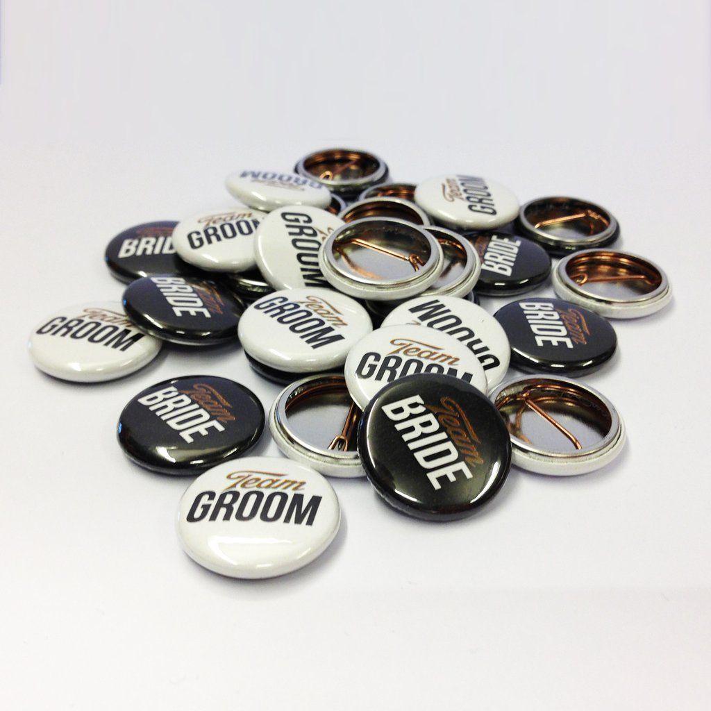 Team Bride & Groom Badges - Black, White & Gold Wedding Favours ...