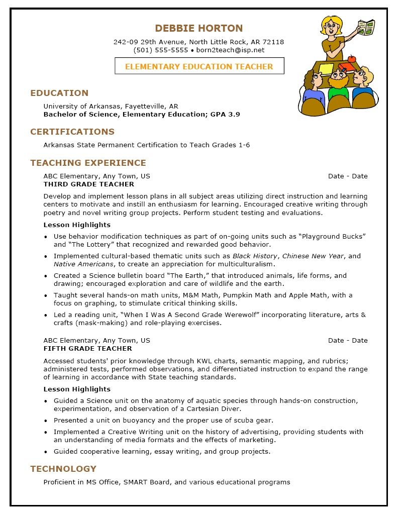 Elementary teacher resume sample first grade teacher for Sample resume for art and craft teacher