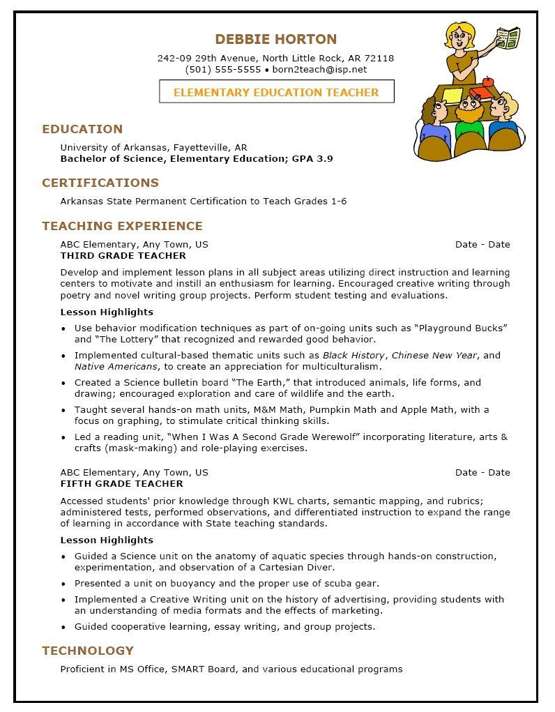Elementary Teacher Resume Sample First Grade Teacher